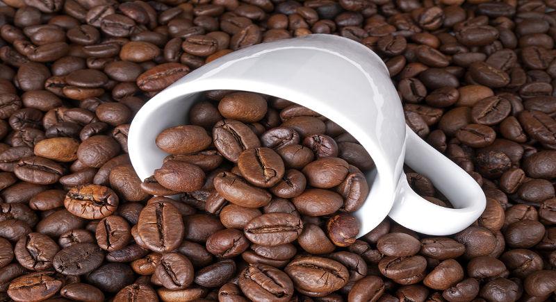 tazzina da caffè in porcellana bianca con chicchi di caffè tostati